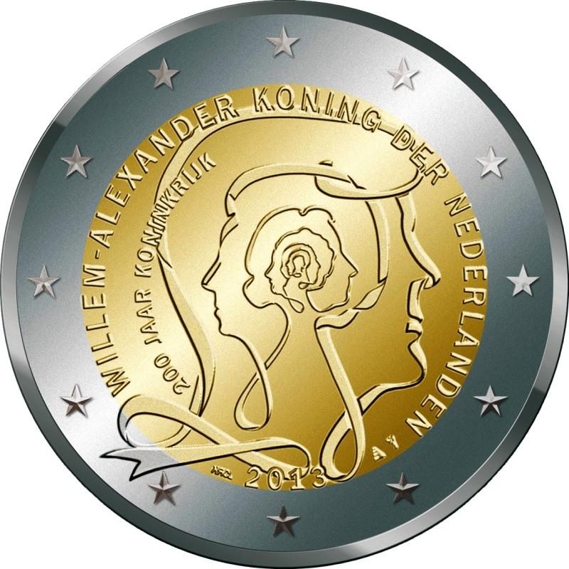 Нидерланды 2 евро 2013   200 лет королевству