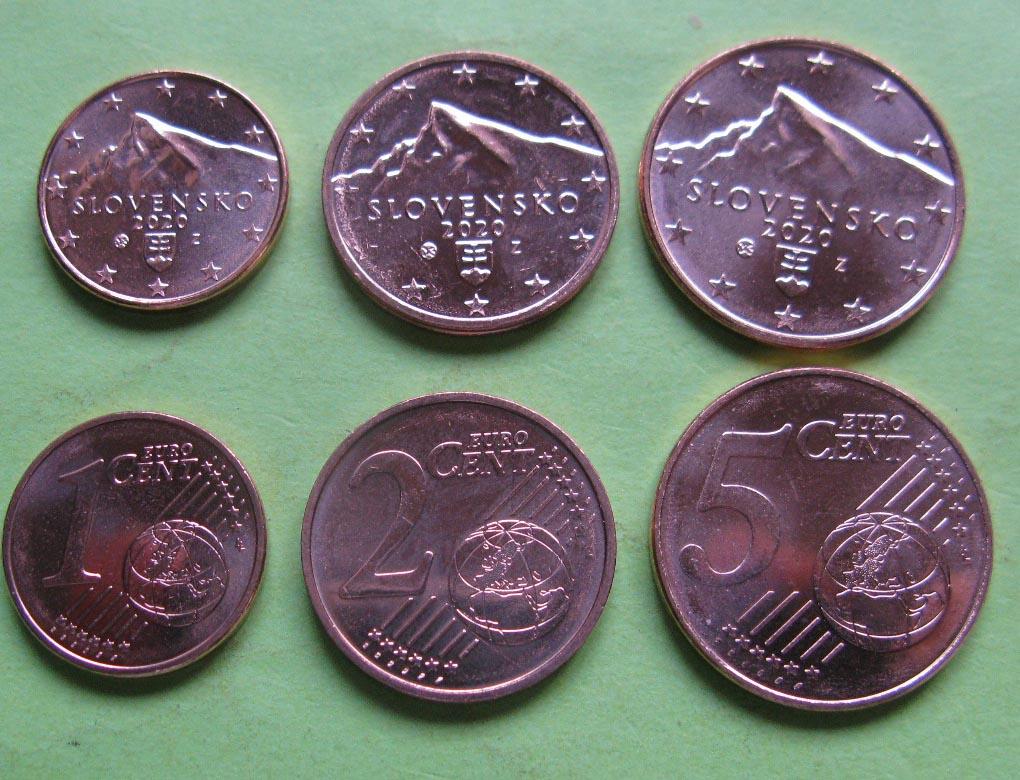 Словакия 1 , 2 и 5 евро центов 2020 г.