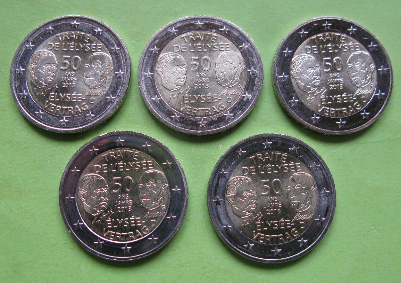 Германия 2 евро 2013 г. Елисейский Договор (A,D,F,G,J)