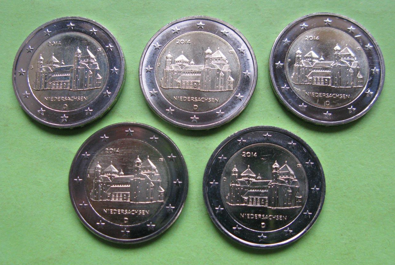 Германия 2 евро 2014 г. Нижняя Саксония (A,D,F,G,J)
