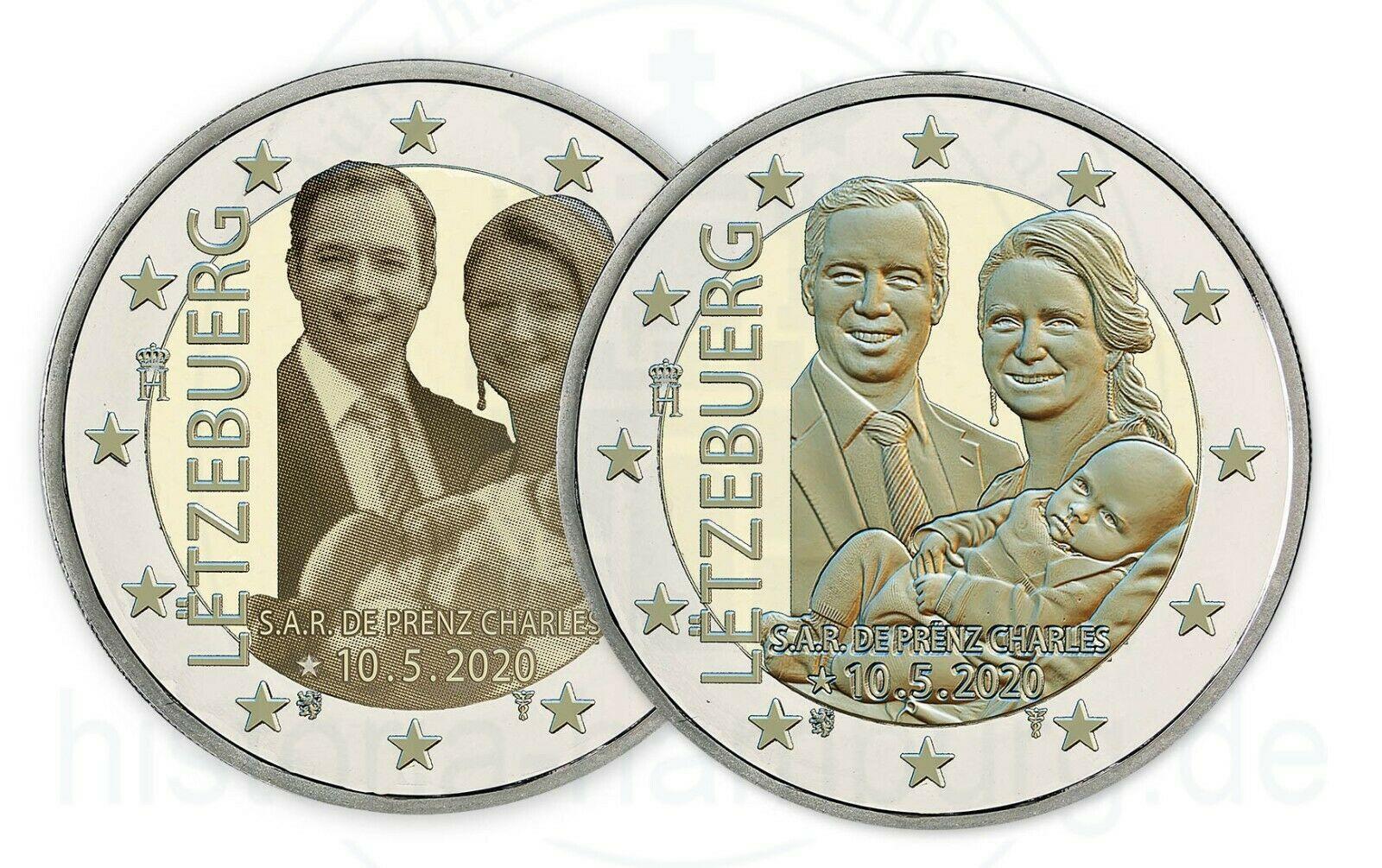 Люксембург 2 евро 2020 г. Рождение наследного Великого Герцога Чарльза (фото + рельеф)