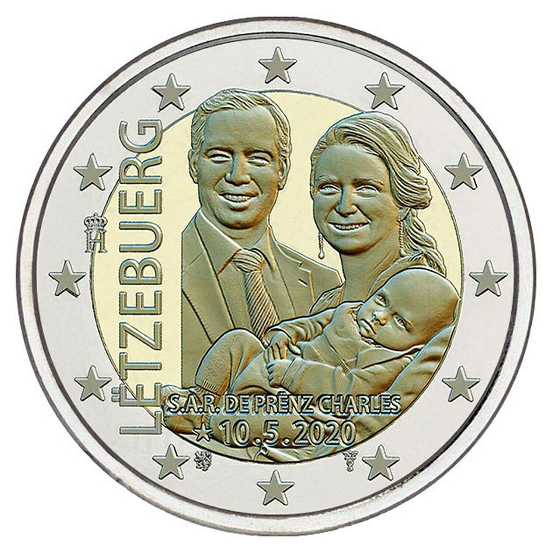 Люксембург 2 евро 2020 г. Рождение наследного Великого Герцога Чарльза (рельеф)