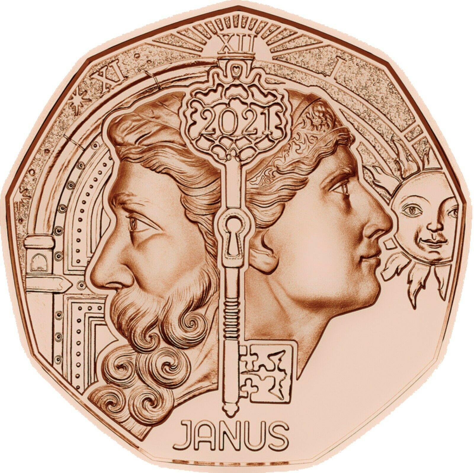 Австрия 5 евро 2021 г. Двуликий Янус