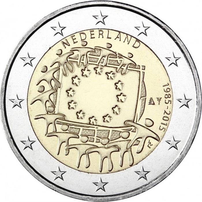 Нидерланды 2 евро 2015 30 лет флагу Евросоюза