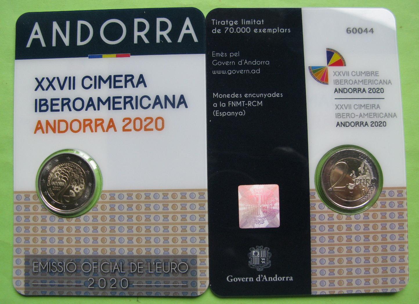 Андорра 2 евро 2020 г.XXVII Иберо-американский саммит в Андорре