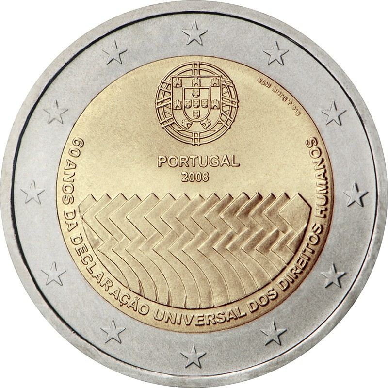 Португалия 2 евро 2008 г.  Декларация прав человека