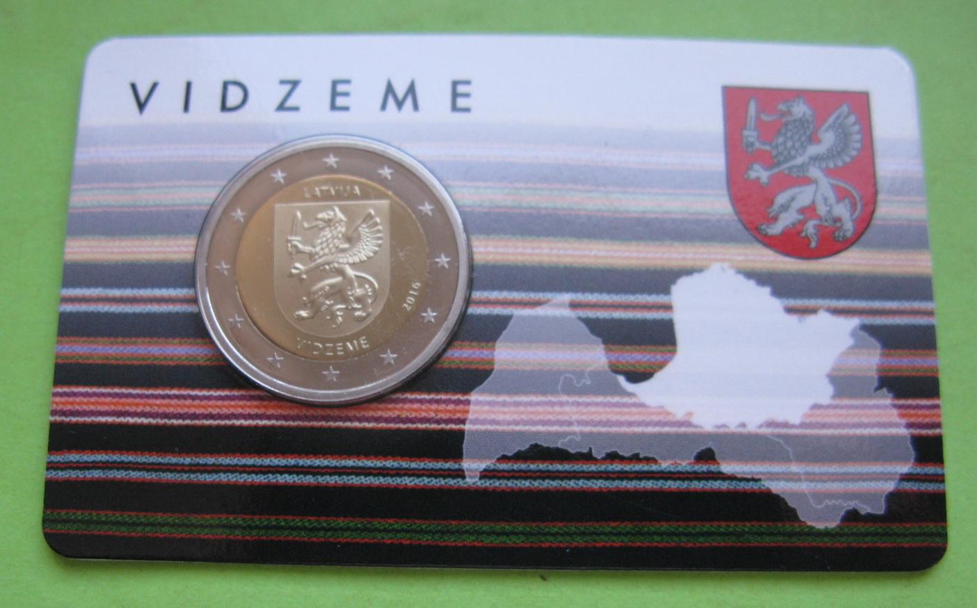 Латвия 2 евро 2016 г. Историческая область - Видземе (в карточке)