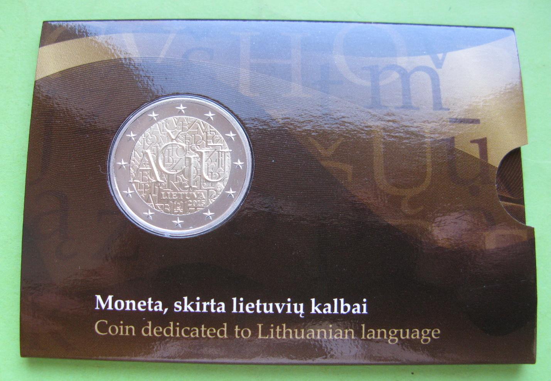 Литва 2 евро 2015 г. Литовский язык (в карточке)