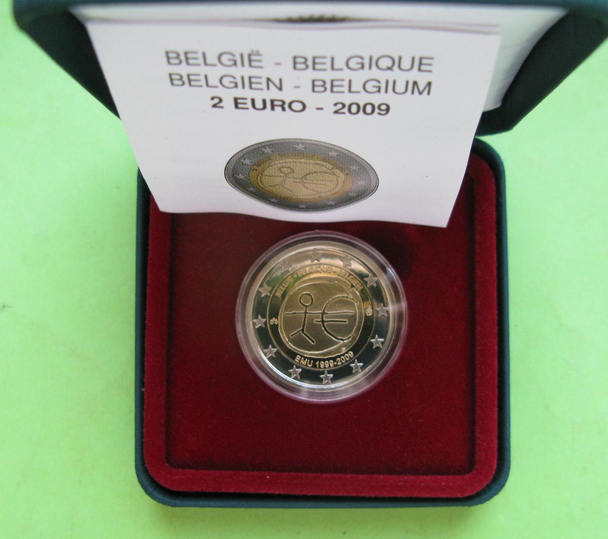 Бельгия 2 евро 2009 г. 10 лет экономическому союзу (пруф)