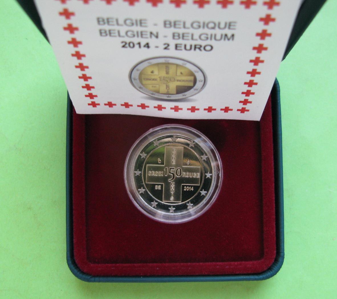 Бельгия 2 евро 2014 г. Красный Крест(пруф)