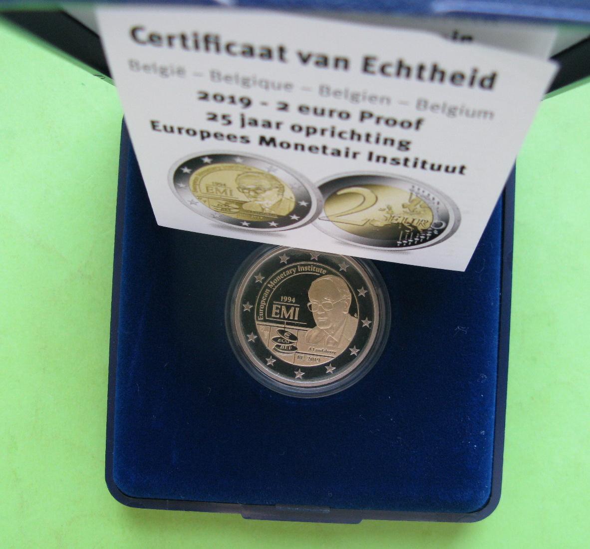Бельгия 2 евро 2019 г. 25-летие Европейского валютного института (EMI) (пруф)