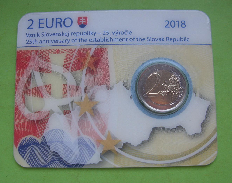 Словакия 2 евро 2018 г. 25-я годовщина Словацкой Республики (в карточке)