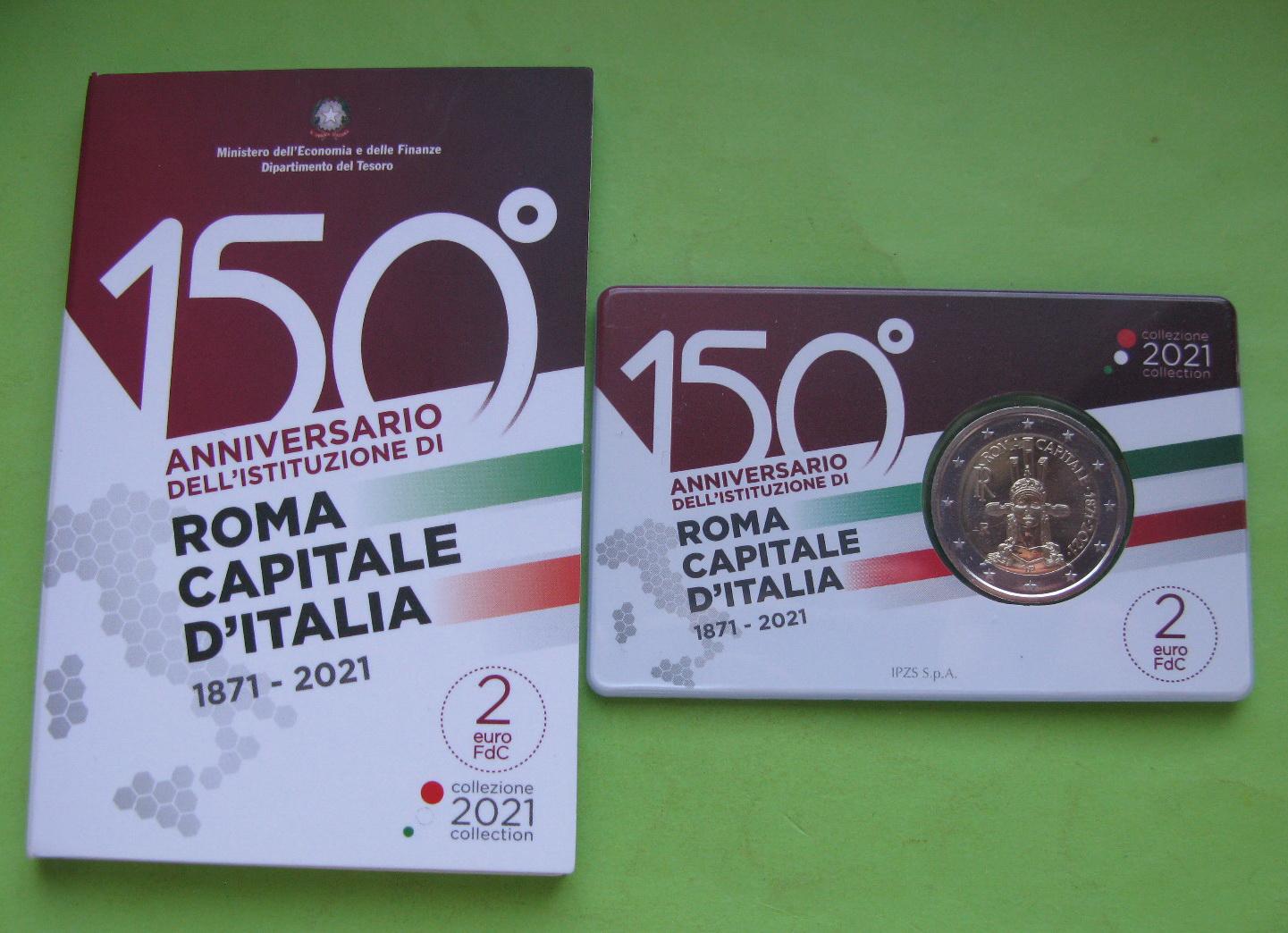 Италия 2 евро 2021 г.150 лет объявления Рима столицей Италии (в карточке)