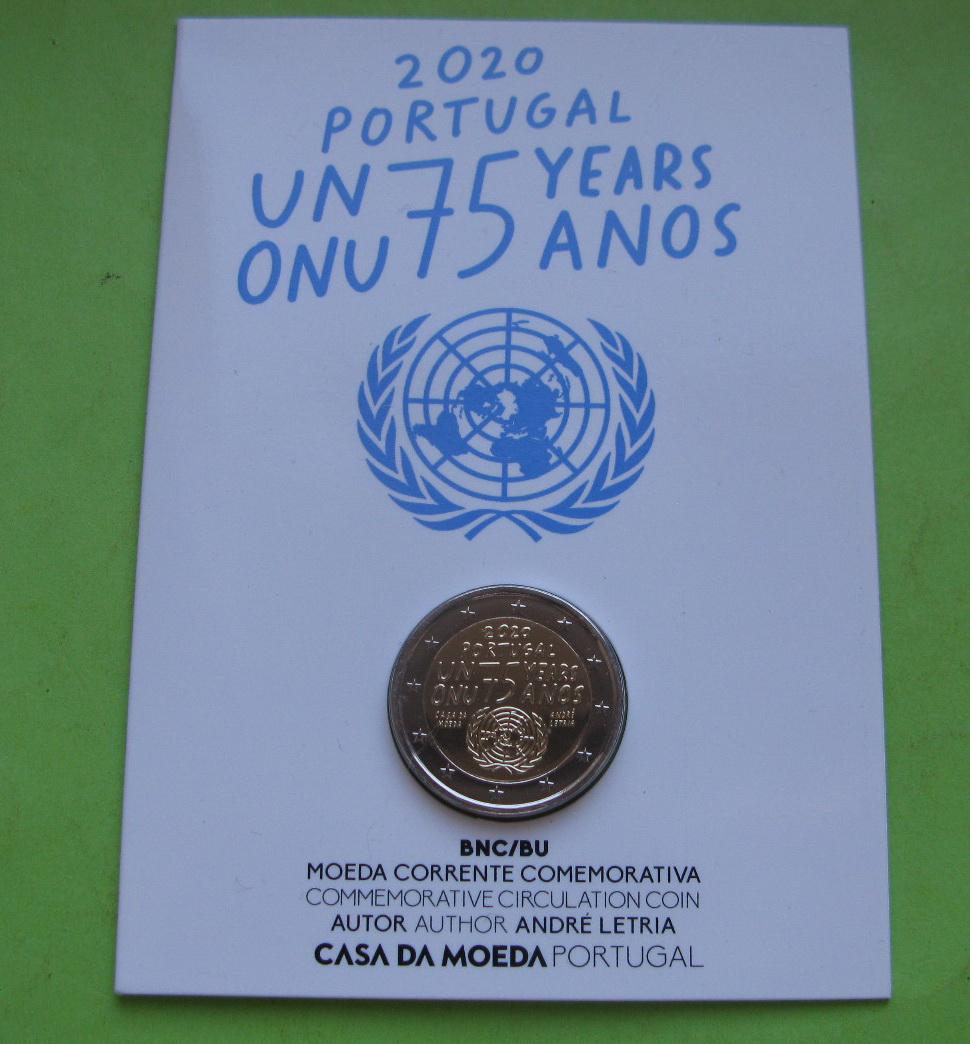 Португалия 2 евро 2020 г. 75 лет ООН ( в карточке)