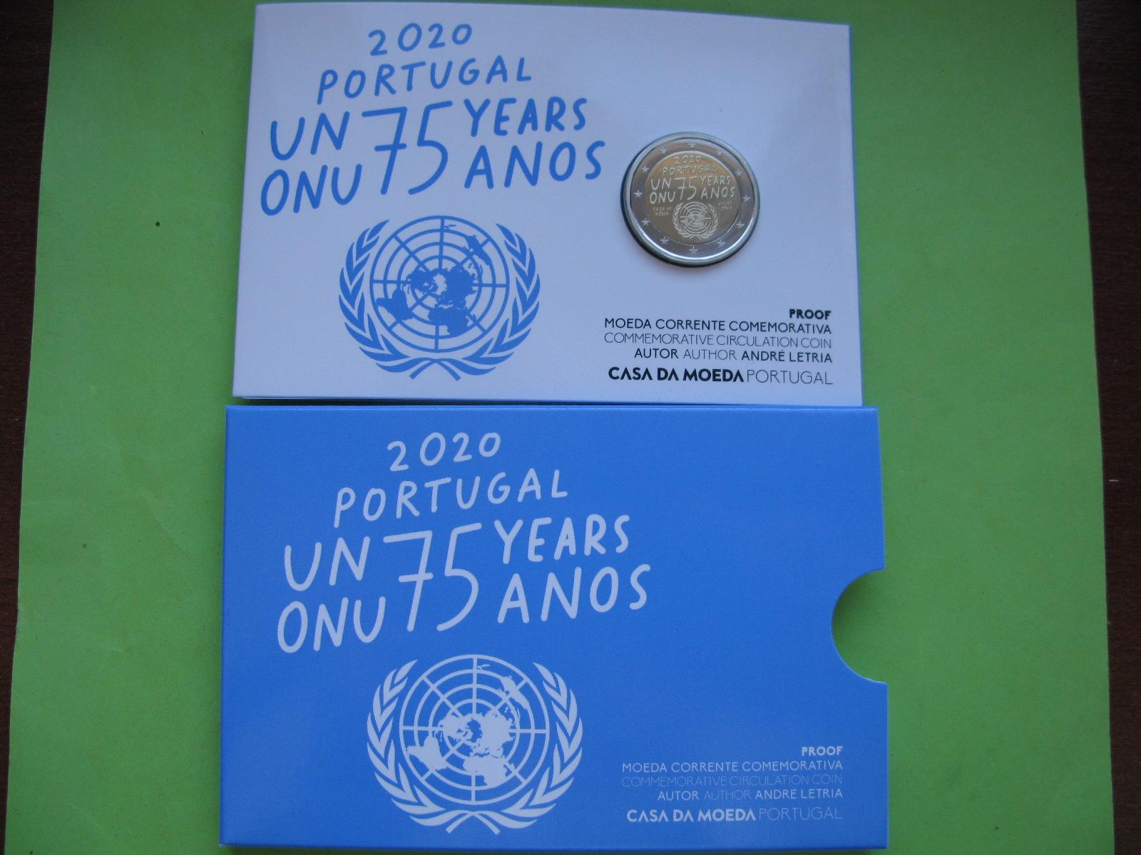 Португалия 2 евро 2020 г. 75 лет ООН (пруф)