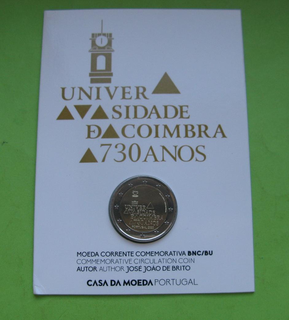 Португалия 2 евро 2020 г. 730-летие университета Коимбры (в карточке))