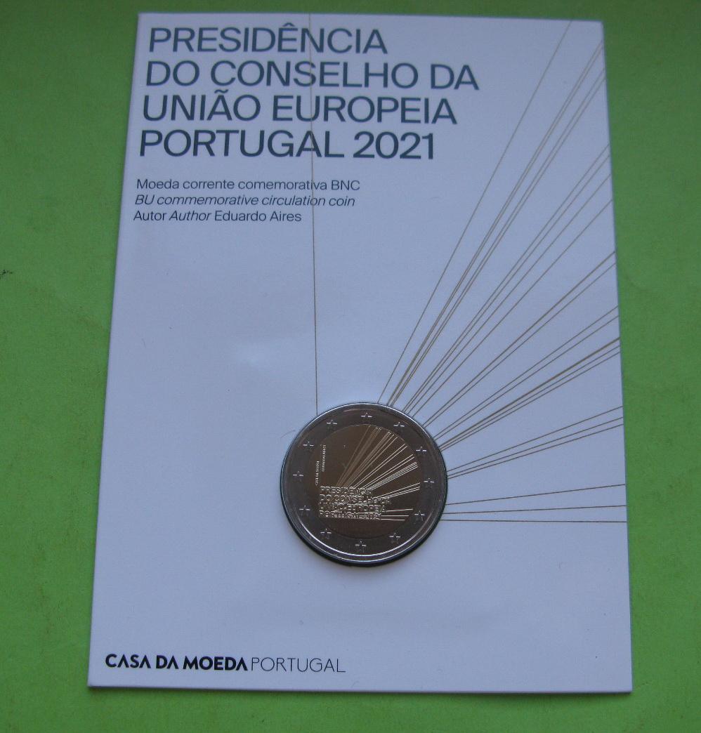 Португалия 2 евро 2021 г. Председательство Португалии в Совете ЕС (в карточке)