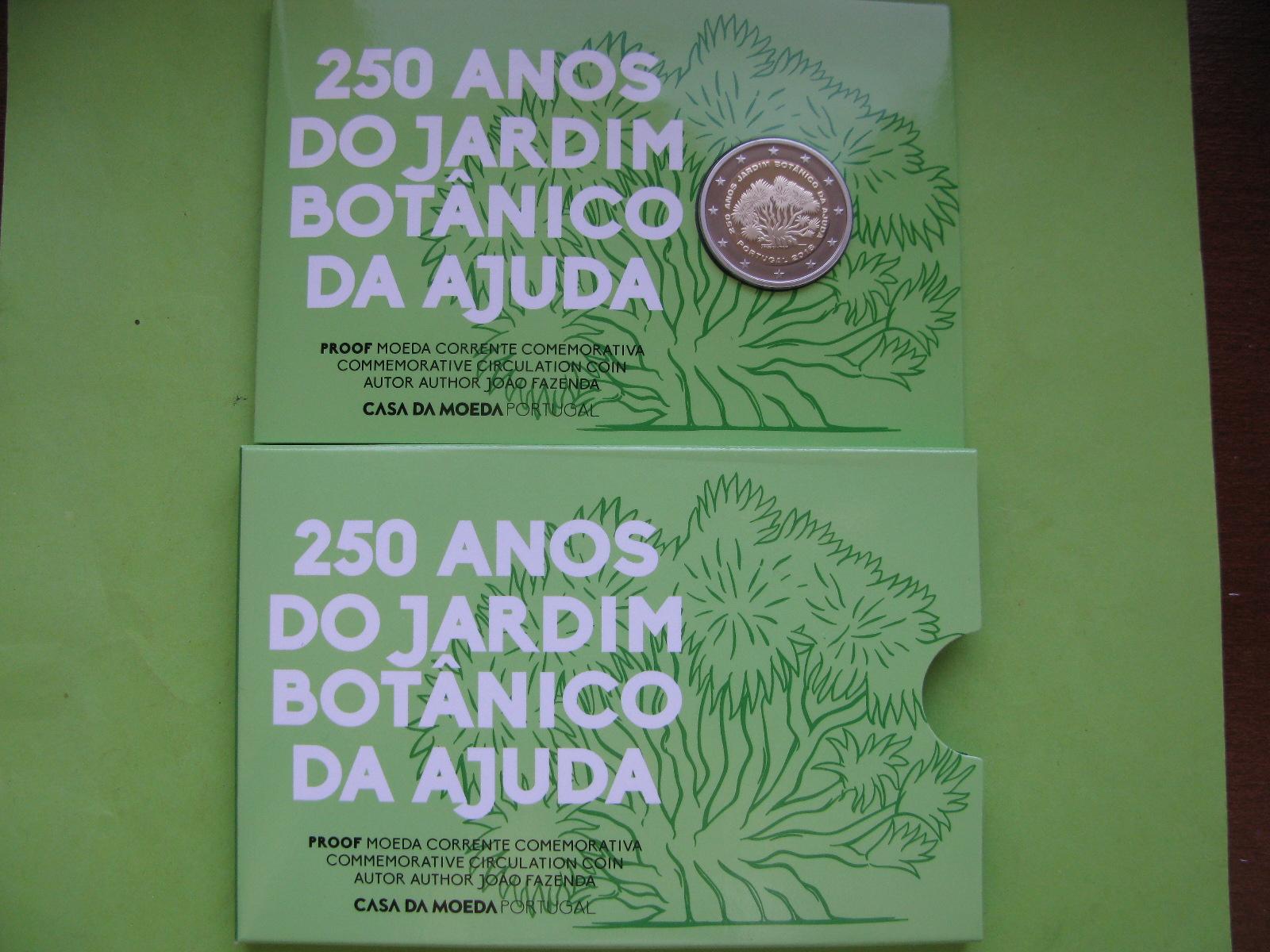 Португалия 2 евро 2018 г. 250-летие Ботанического сада Ажуда в Лиссабоне (пруф)