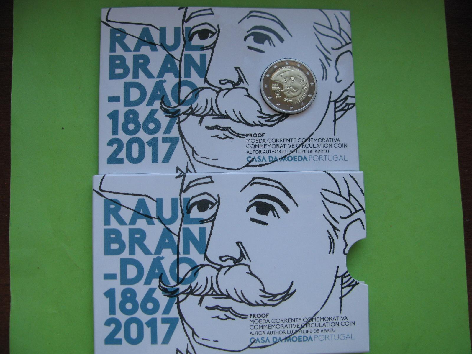 Португалия 2 евро 2017 г. 150 лет со дня рождения писателя Раула Брандана (пруф)
