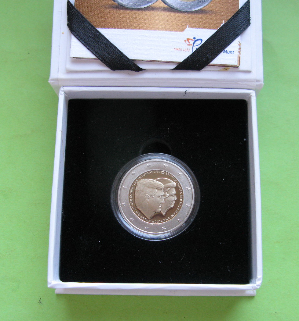 Нидерланды 2 евро 2014 г. Двойной портрет (пруф)