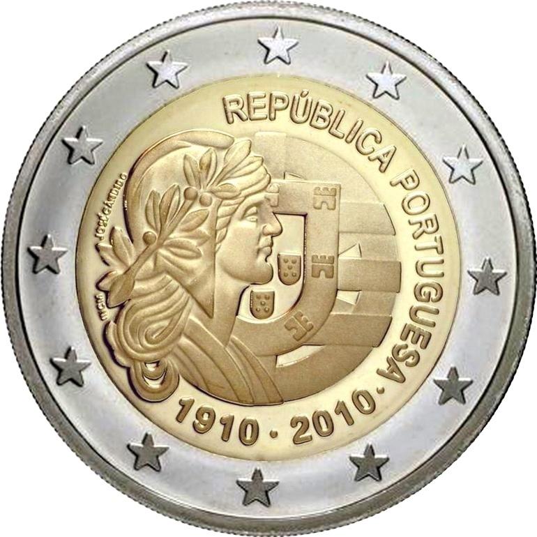 Португалия 2 евро 2010 г.  100 лет Республике