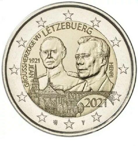 Люксембург 2 евро 2021  100 лет со дня рождения Великого Герцога Жана (рельеф)