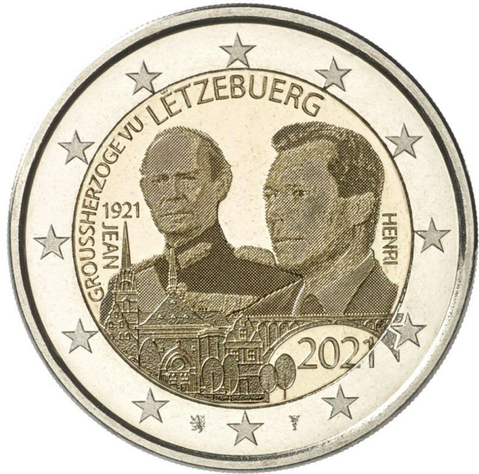 Люксембург 2 евро 2021  100 лет со дня рождения Великого Герцога Жана (фото)