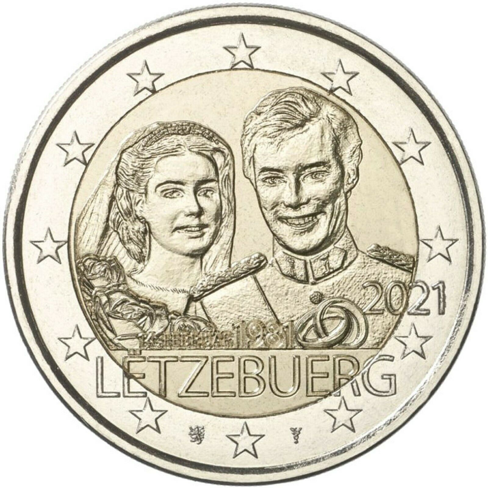 Люксембург 2 евро 2021 40-летие бракосочетания  Герцога Анри и  Герцогини Марии-Терезы (рельеф)