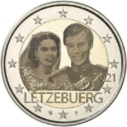 Люксембург 2 евро 2021 40-летие бракосочетания  Герцога Анри и  Герцогини Марии-Терезы (фото)