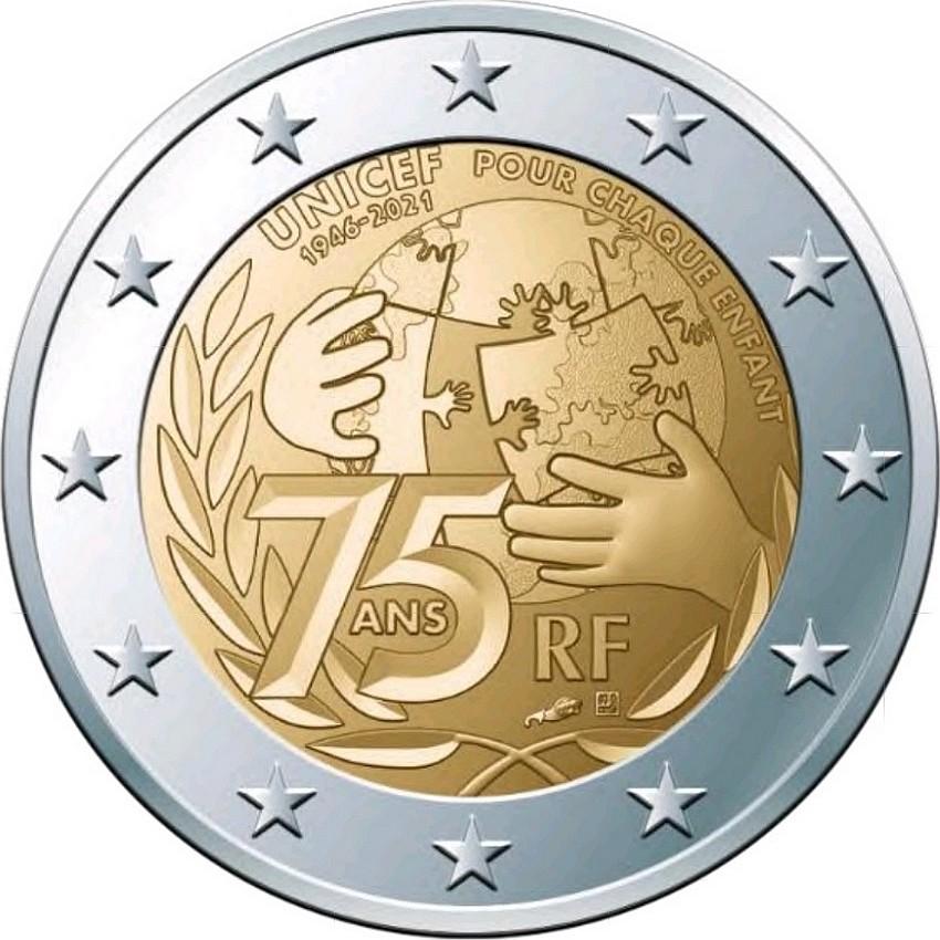 Франция 2 евро 2021 г.75 лет ЮНИСЕФ