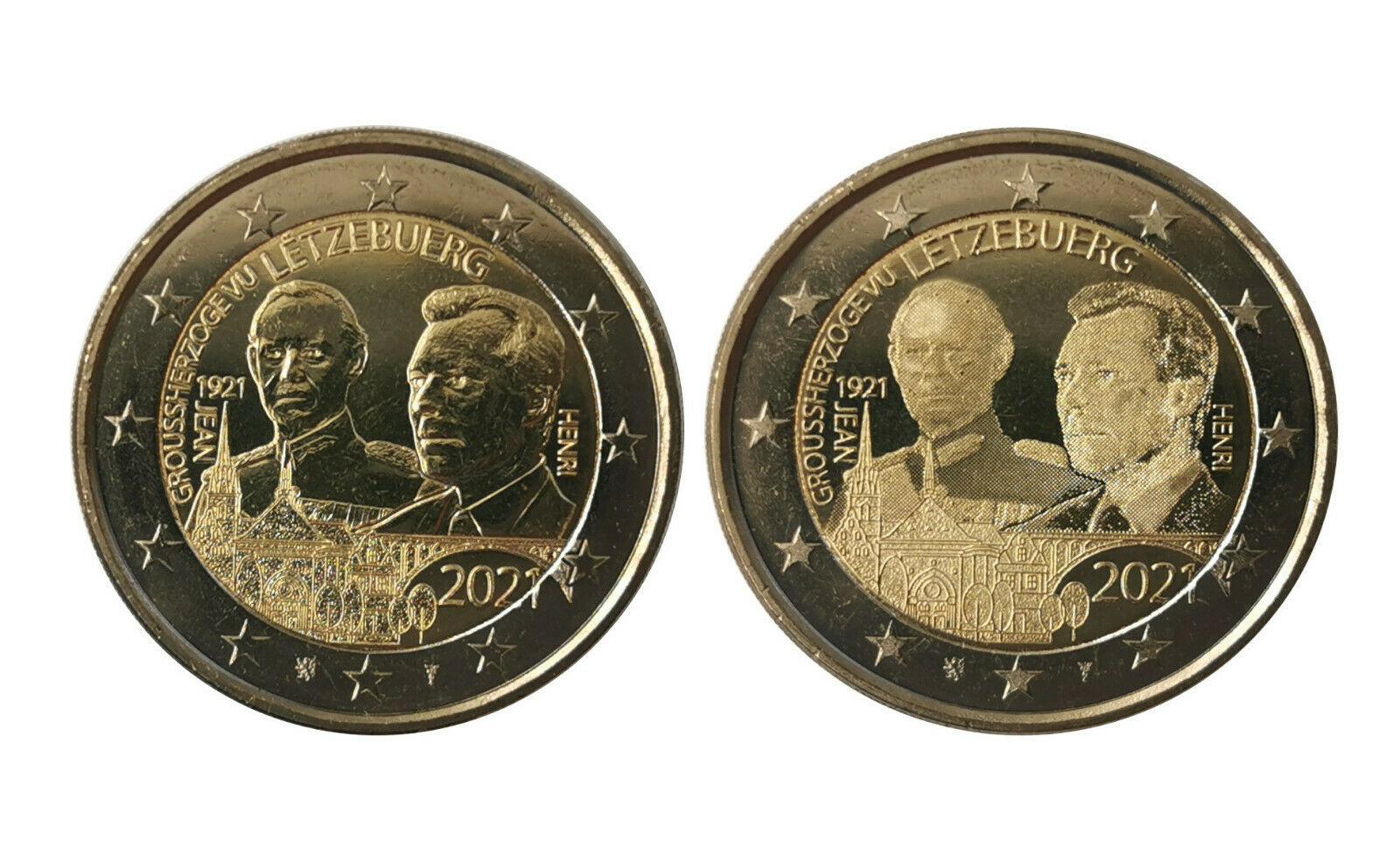 Люксембург 2 евро 2021 100 лет со дня рождения Великого Герцога Жана (фото + рельеф)