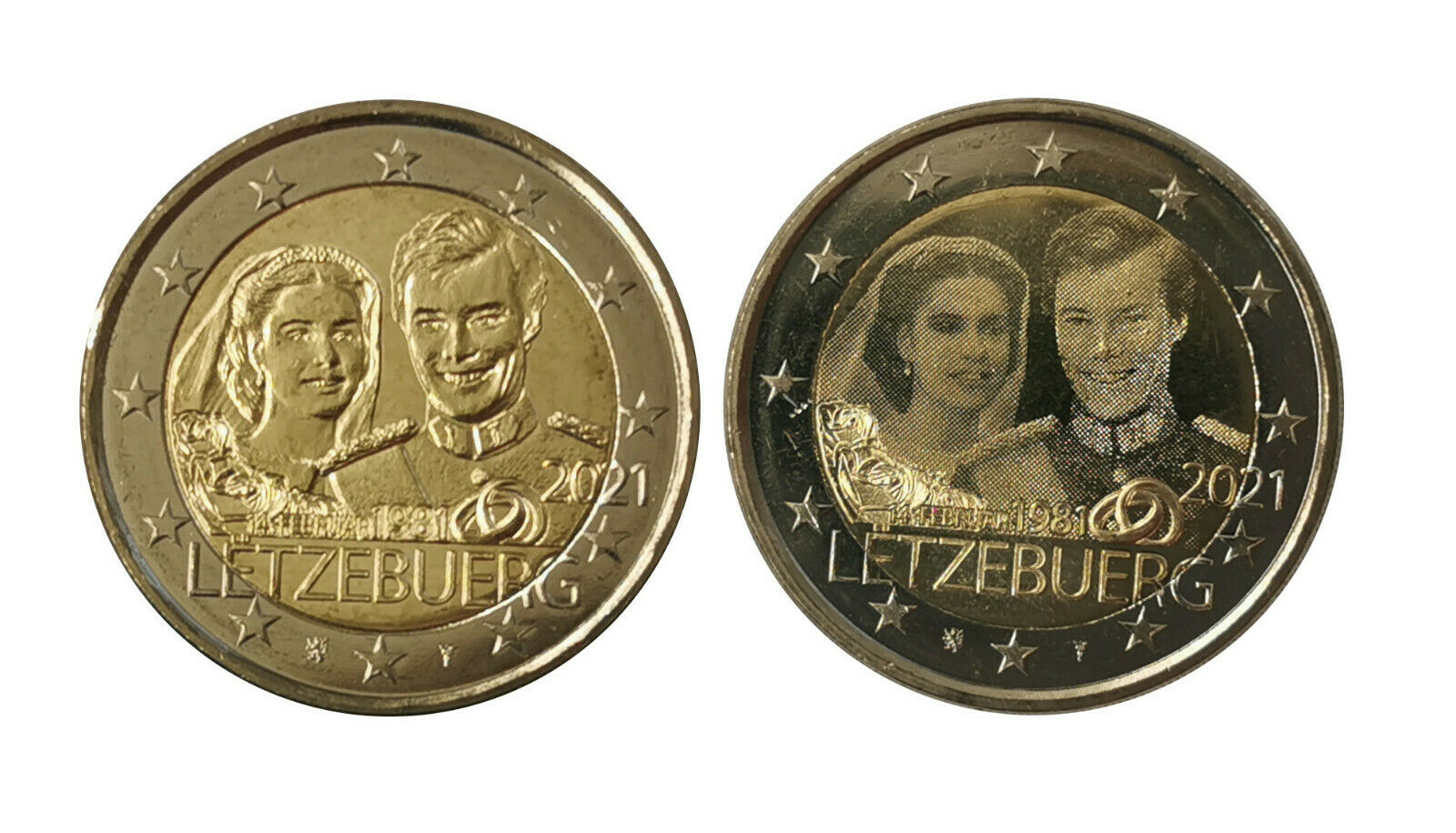 Люксембург 2 евро 2021 40-летие бракосочетания Герцога Анри и Герцогини Марии-Терезы (фото+рельеф)