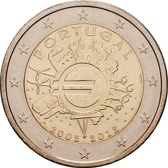 Португалия 2 евро 2012 г. 10 лет наличному евро