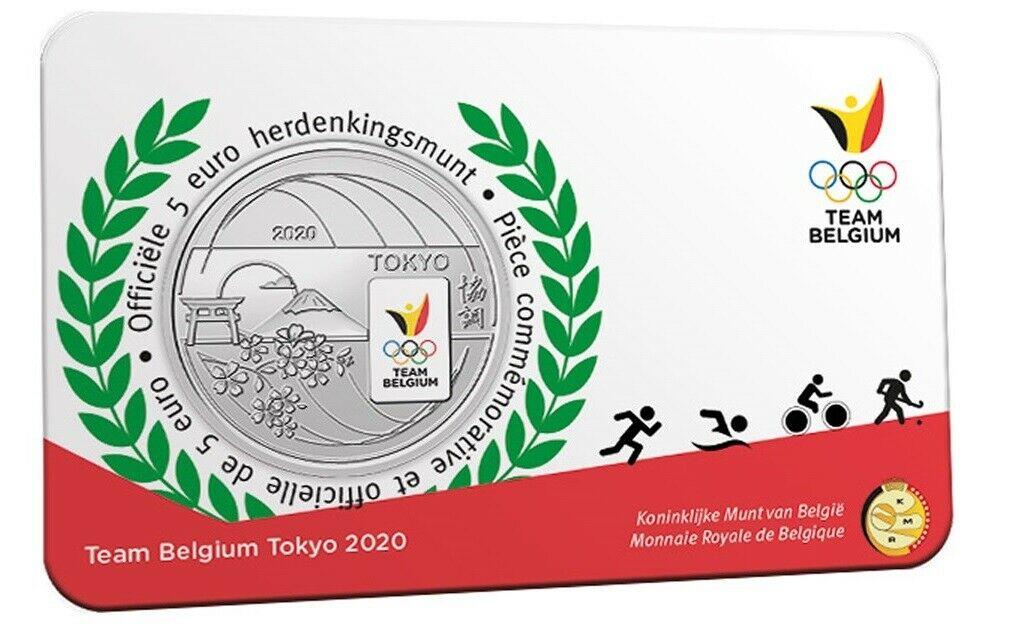 Бельгия 5 евро 2021 г.  Олимпиада в Токио (цветная)