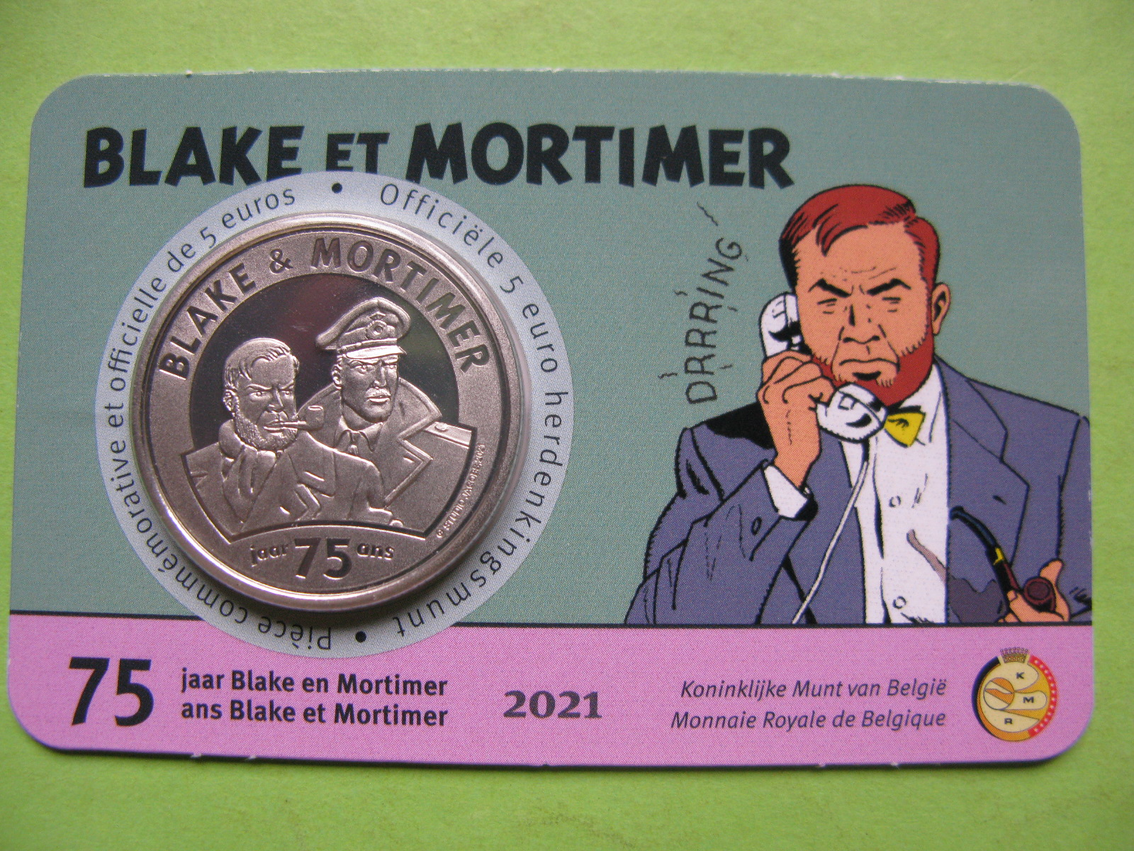 Бельгия 5 евро 2021 г. 75 лет комиксам «Блейк и Мортимер»