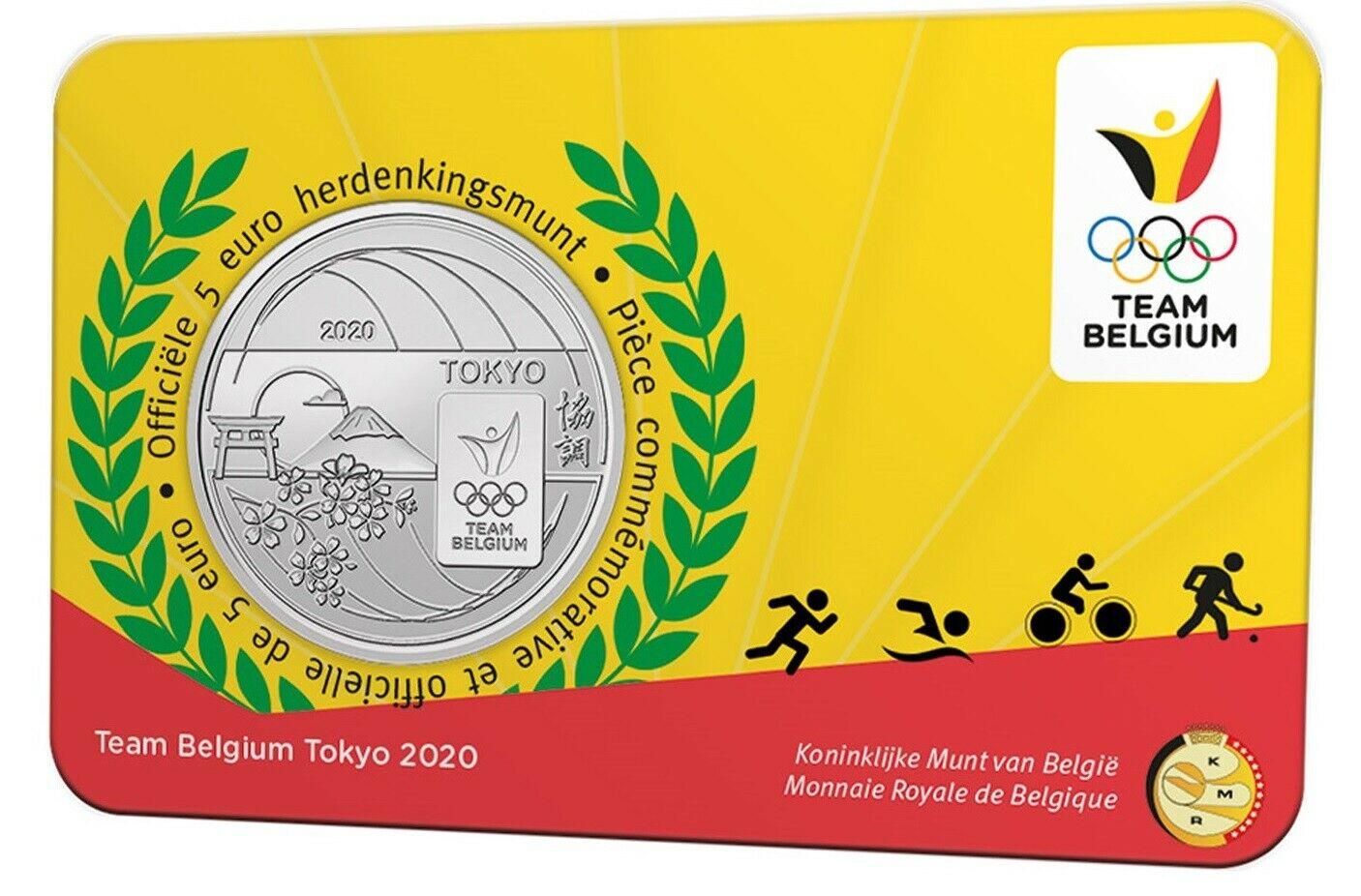 Бельгия 5 евро 2021 г. Олимпиада в Токио