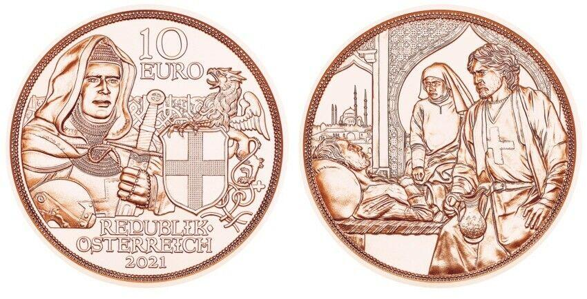 Австрия 10 евро 2021 г.  «С кольчугой и мечом» - братство