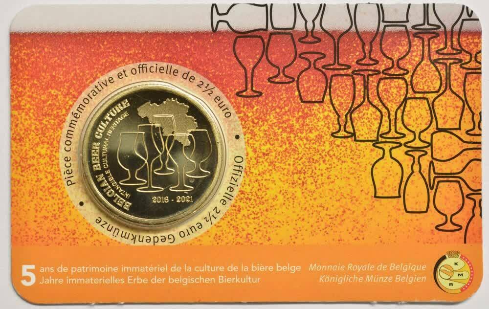 Бельгия 2,5 евро 2021 г. Пивная культура Бельгии
