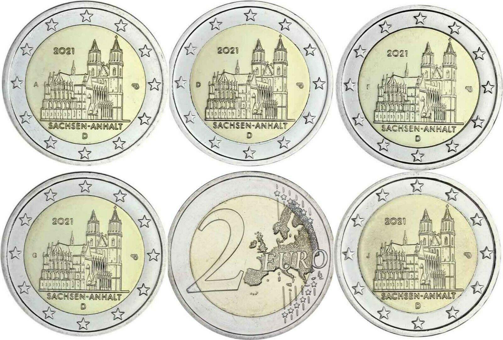 Германия 2 евро 2021 г. Саксония-Анхальт (A,D,F,G,J)