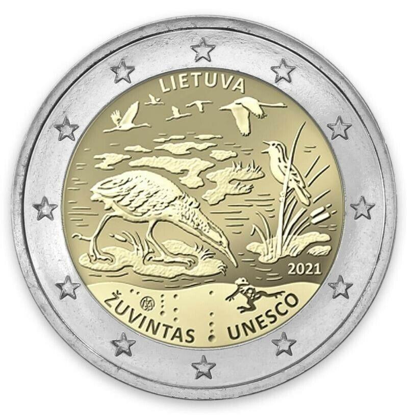 Литва 2 евро 2021 г. Биосферный заповедник Жувинтас