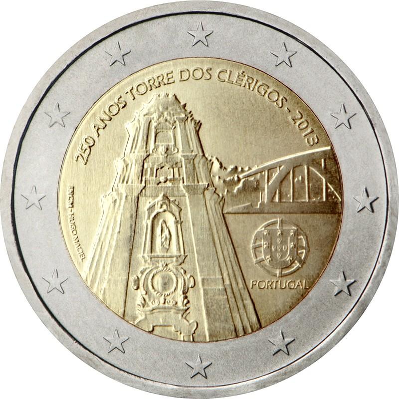 Португалия 2 евро 2013 г. Колокольня церкви Клеригуш