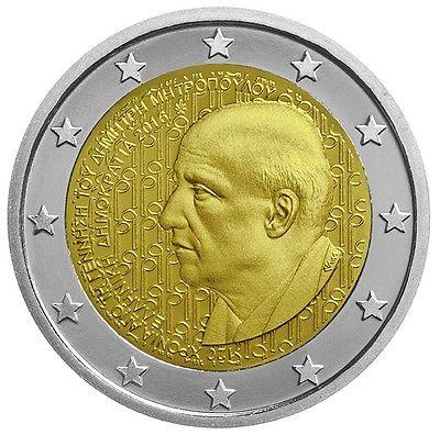 Греция 2 евро 2016 г.   Димитрис Митропулос