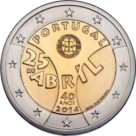 Португалия 2 евро 2014 г. Революция гвоздик