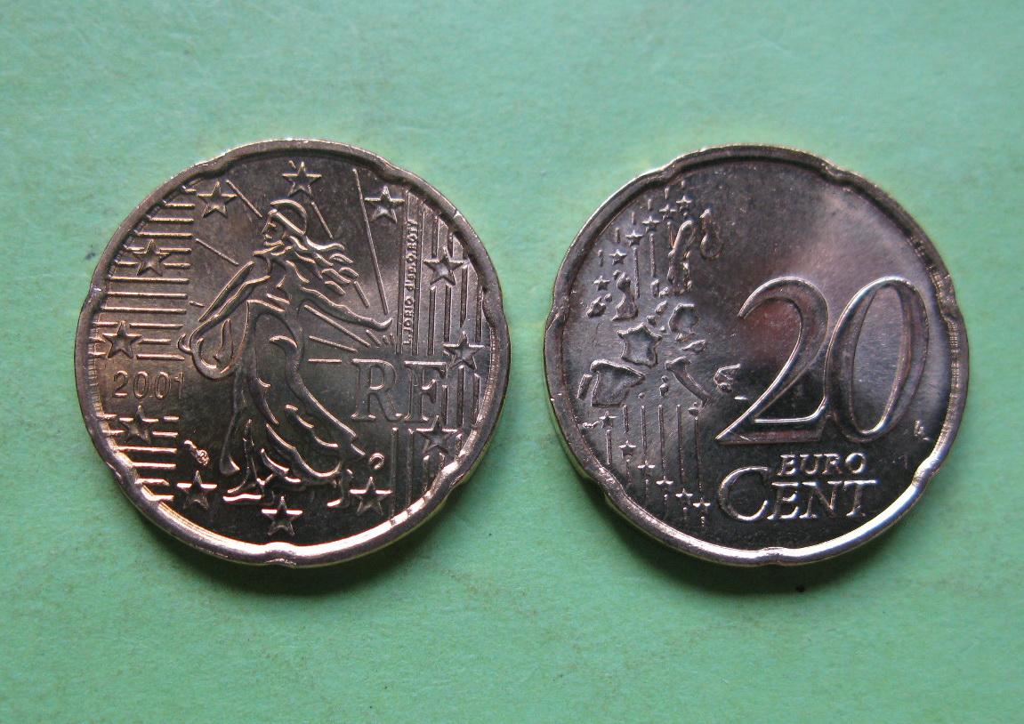 Франция 20 евро центов 2001 г. UNC