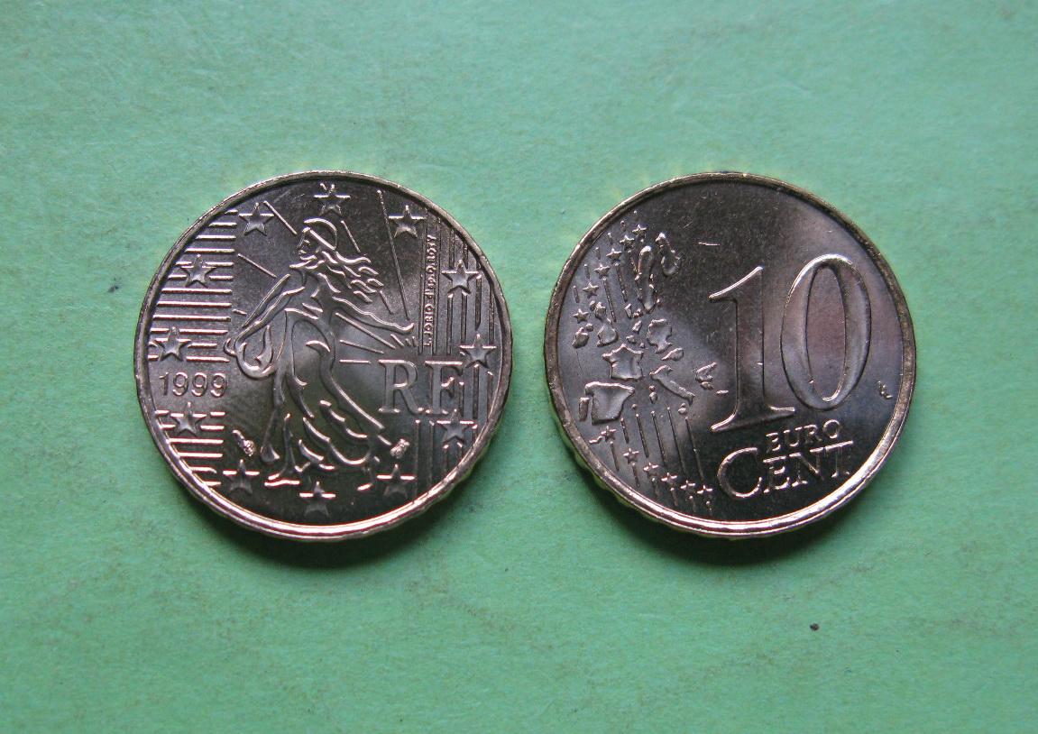Франция 10 евро центов 1999 г. UNC