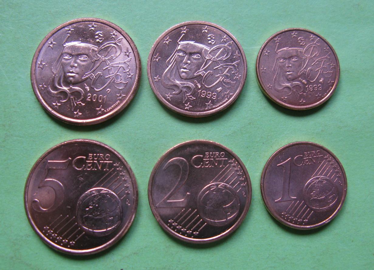 Франция 1,2,5 евро центов 1999-2001 г. UNC