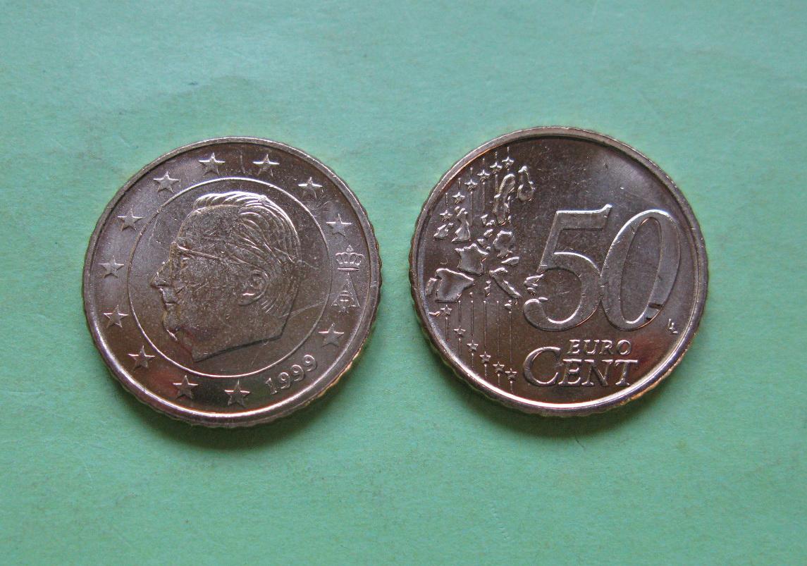 Бельгия 50 евро центов 1999 г. UNC