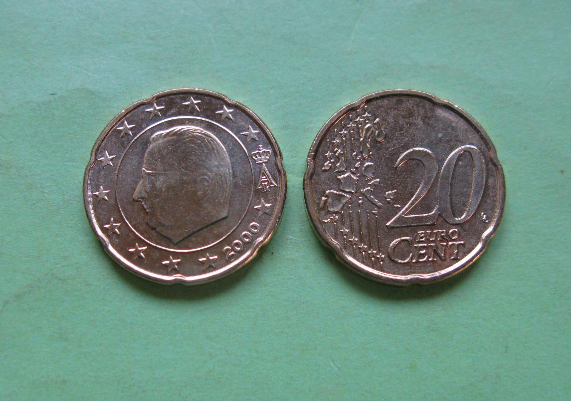 Бельгия 20 евро центов 2000 г. UNC