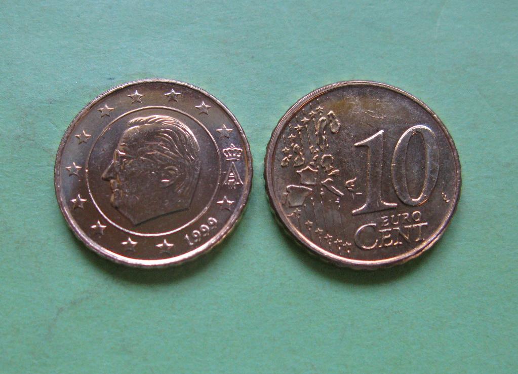 Бельгия 10 евро центов 1999 г. UNC