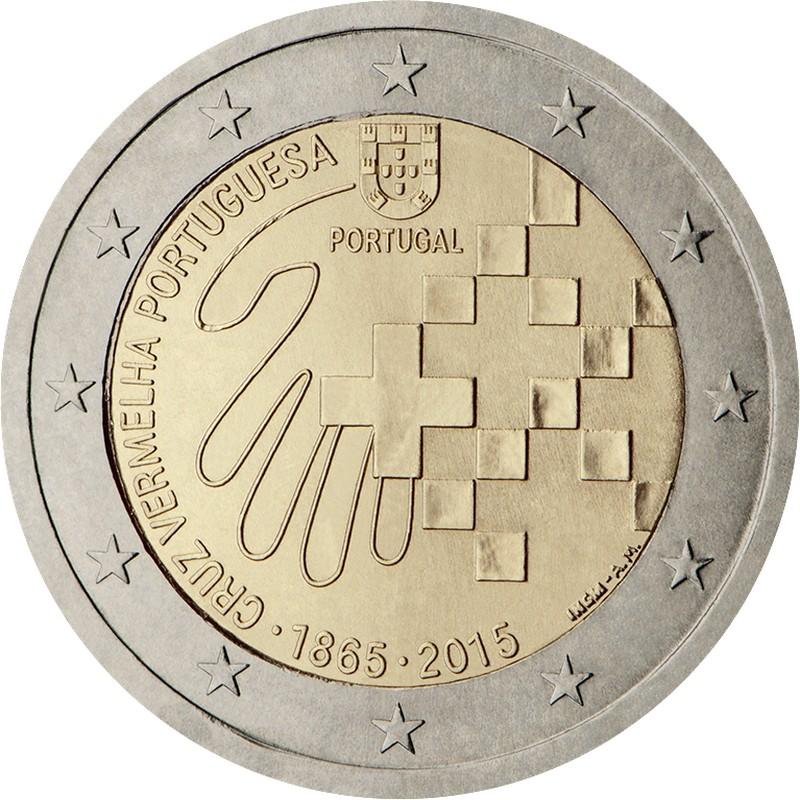 Португалия 2 евро 2015 г.  Красный крест